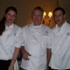 Executive Chef Richard Hughes of The Pelican Club flanked by his staff members