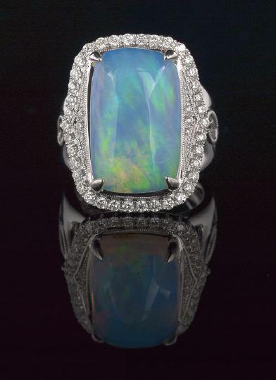 18 Karat White Gold Opal And Diamond Ring