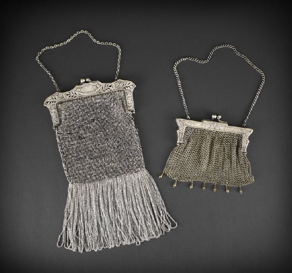 German Silver Metal Mesh Bags, ca 1900